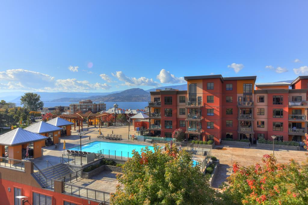 view from playa del sol over pool with okanagan lake in background