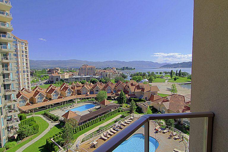 View overlooking Sunset Waterfront Resort in Kelowna BC - Okanagan Valley