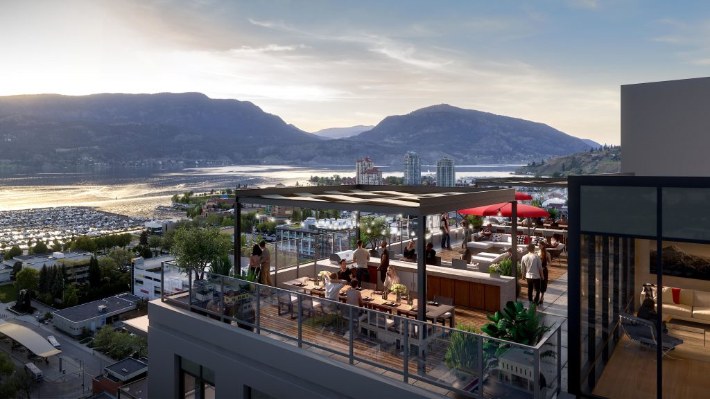 Rooftop pation view from The Brooklyn in Kelowna, BC - Okanagan Valley