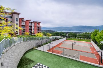 Badminton basketball pickleball courts at copper sky west kelowna